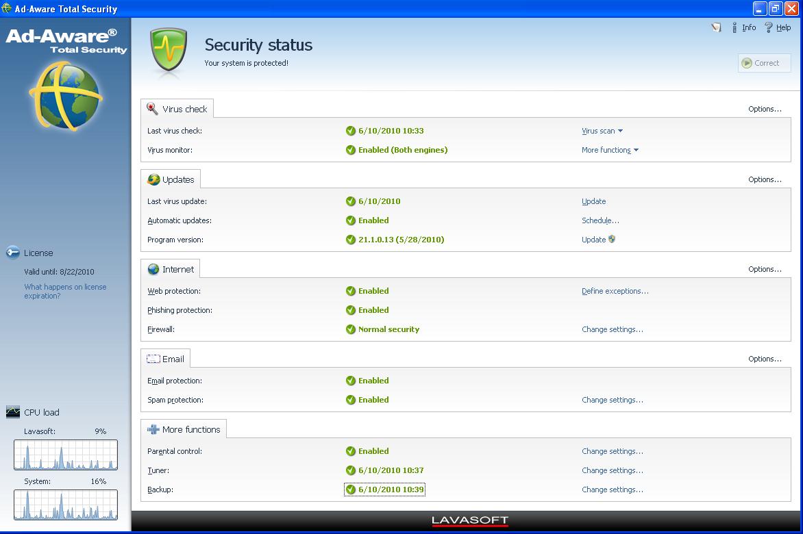 برنامج الحمايه اد وير Ad-Aware Total Security