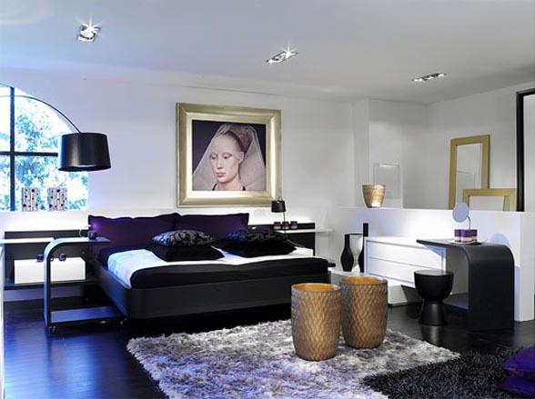 غرف نوم باللون الاسود