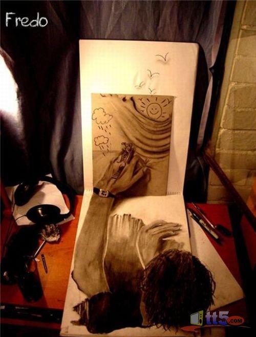 صور ثلاثية الأبعاد بإستخدام قلم الرصاص ..~