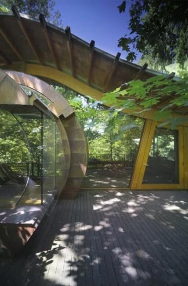 بناء امريكي بنى كوخا خشبيا عجيبا في غابة