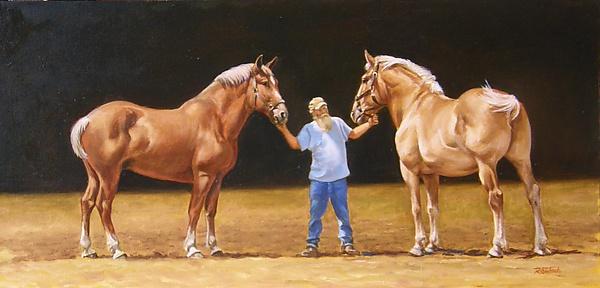 الخيول والطبيعه بألوان الزيت