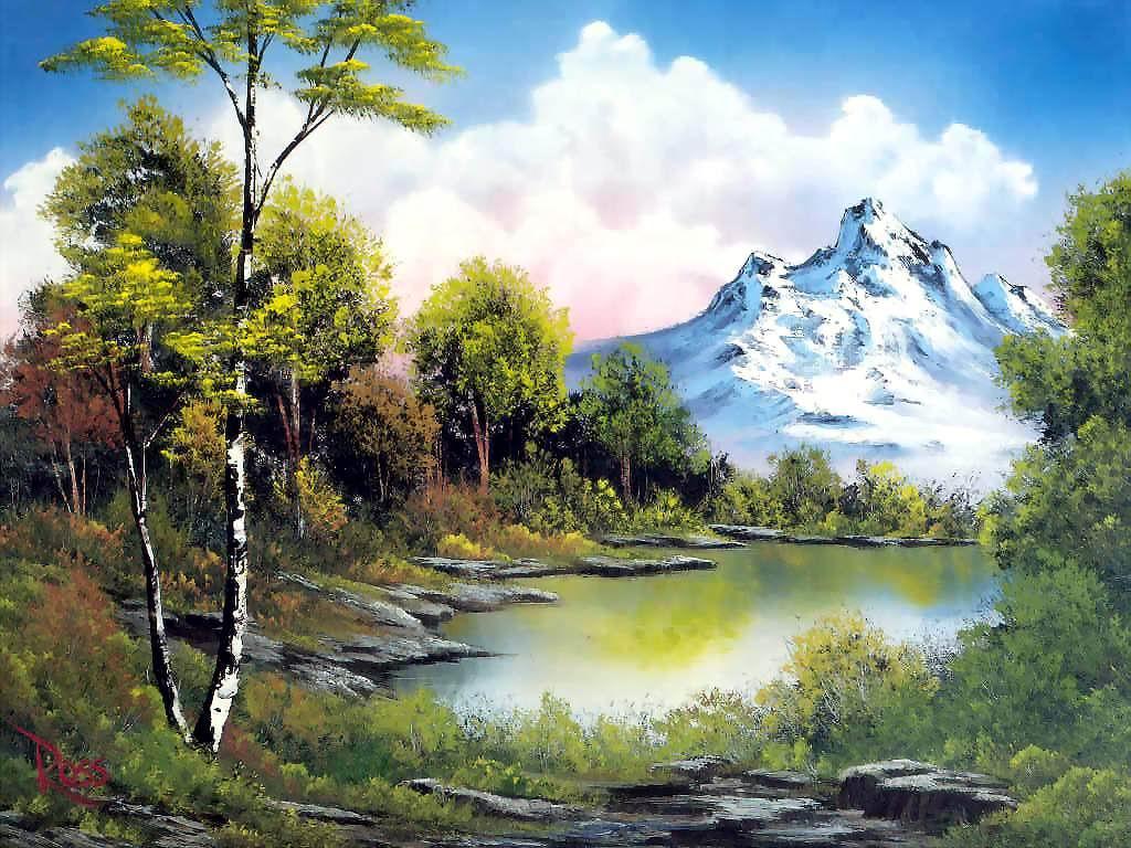 لوحات للطبيعة بألوان زيتية رائعه