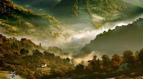 أماكن رائعه التقطت فجرا لجبال تغطيها الأشجار ..