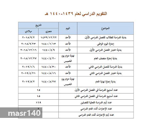 التقويم الدراسي لعام 1439 / 1440 هـ