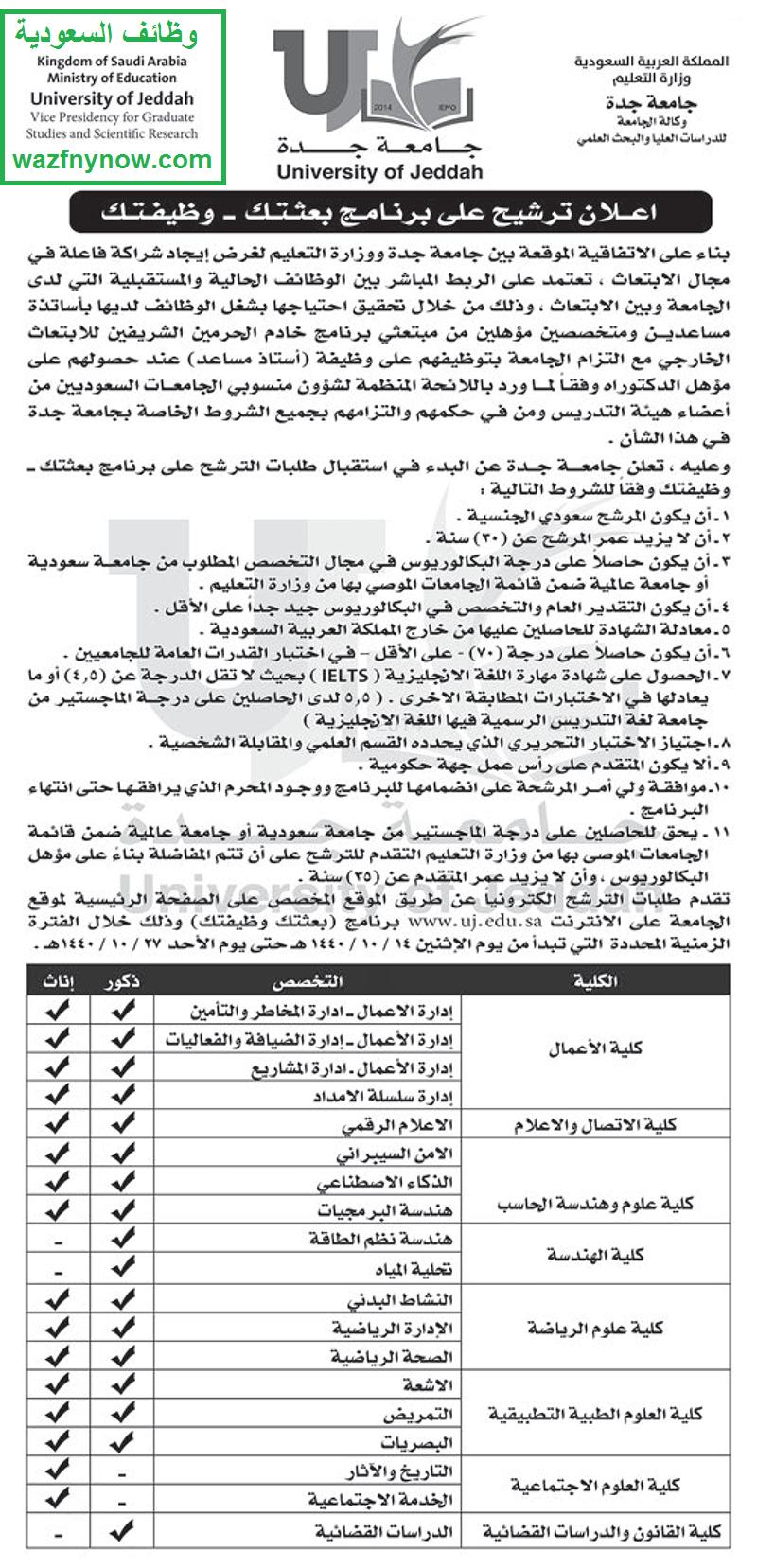 بدء التقديم بمسار #بعثتك_وظيفتك في جامعة حفر الباطن وجدة