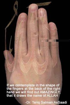 انظر الى يدك ....... عليها لفظ الجلاله ( الله)